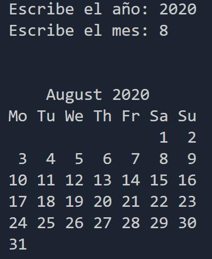 Calendario mostrado en terminal